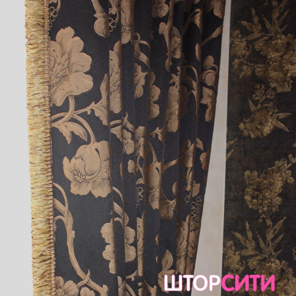 Черные с золотом шторы для гостиной. Пошив штор в ателье Штор Сити